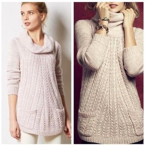 Anthropologie Cable Cowl Blush Pocket Sweater